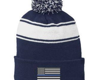Thin BLUE Line Embroidered Flag BLUE Police Law Enforcement Winter Hat