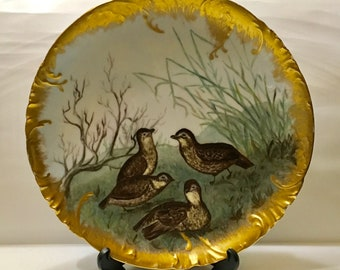 Haviland & Co. France Hand Painted Game Birds Gold Trim Large Round Plate Wall Charger