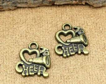 25pcs Cheerleader Charms Antique Bronze Love to Cheer Charms Pendant 18x16mm C1576-T