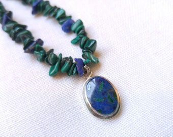 Silver Azurite Pendant and Lapis Malachite Necklace - Southwestern Jewelry - Real Silver - Green and Blue - Pisces Jewelry - Earth Jewelry