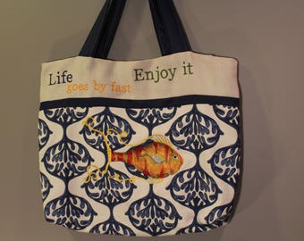 Beach bag - One of a kind tote bag - Embriodery bag - Gift for her -  A day at the beach