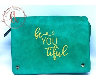 Mint Green Leather Purse Satchel Personalized Beautiful, Be-you-til, Gold Glitter