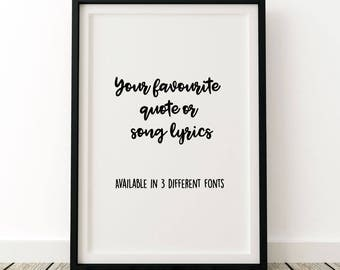 Personalised quote or song lyrics unframed poster print