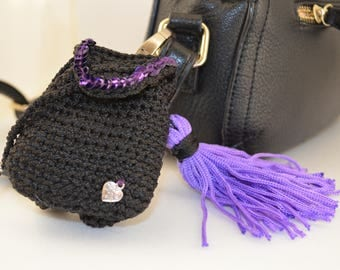 Charm backpack, Key chain for bag, Amigurumi Charm, backpack keyring, decoration for bags,knitted keychain, keychain for girls, purple