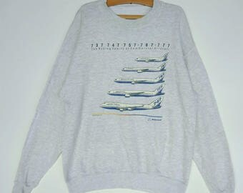 The Boeing Family Of Commercial Aircraft Vintage Sweatshirts Large