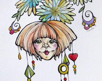 Original watercolors and black ink painting/drawing - fantasy by Renata Lombard