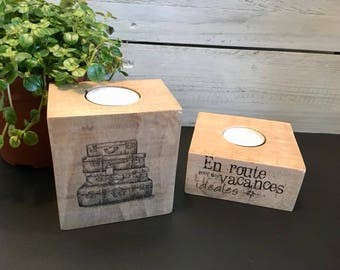 set of 2 candle holders wood (recycling pallets)