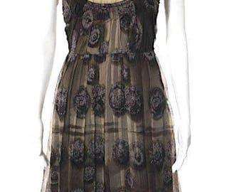 Prada. ITALY. Brown Silk Sleeveless Pleated Shift Dress