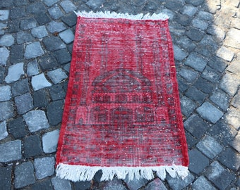 Overdyed Prayer Rug Free Shipping 2 x 3.4 ft. Unique Anatolian Prayer Rug Decorative Prayer Rug Handknotted Boho Rug Red Color Rug MB303