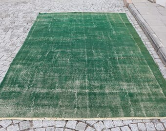 Free Shipping Turkish Rug 6.8 x 10. ft. dark green colored rug anatolian handmade rug, overdyed rug, bohemian decor rug, oushak rug,, MB371