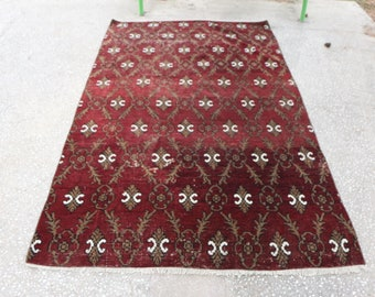 Floral design very good condition rug, Free Shipping  4.9 x 8.4 ft. floral rug, oushak rug, anatolian rare rug, handknottted rug, MB428