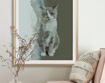 Grey Cat Minimalist Print - Abstract Photo Decoration - Large Poster for Living room Wall Art