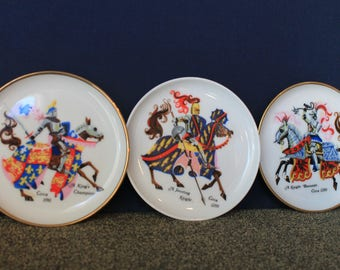Jousting Knights. Set of 3 tiny porcelain plates. Made by Kaiser W Germany