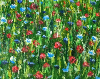 Poppy Meadow A6 Blank Greeting Card - taken from acrylic painting