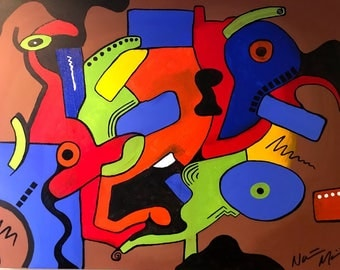 Abstract Acrylic in geometric shapes using brush, knife, and paint markers on stretched canvas