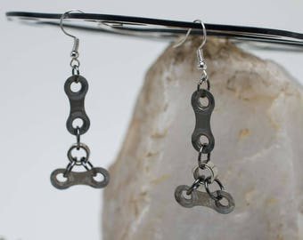 Bicycle Chain Trinity Earrings