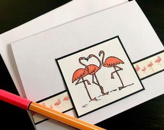 Set of 10 Flamingo Stationary Cards