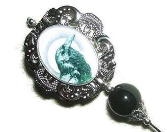Hatpin BLACK BIRD MOON Glass Cabochon Stick Hat Pin Long Silver Pl Vintage Style Crow Raven