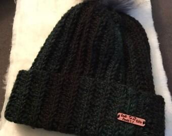Crochet hat with pom