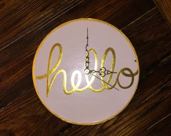 "Gold and White Clock ""Hello"" 10"" Clock~ Home Decor- Clock Decor"