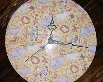 "Nursery Animal Clock~ Baby Animal Clock~ Yellow Brown Gray 10"" Clock~ Home Decor- Clock Decor"