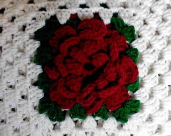 Burgundy White Granny Square Crochet Afghan