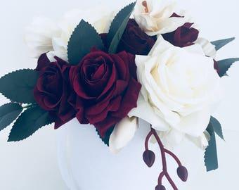 Stunning artificial flower arrangement burgundy gift wedding birthday anniversary