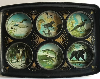 Vintage Mid Century Bar Tray // Drink Tray //Toleware // Hunting Fishing Wildlife Theme