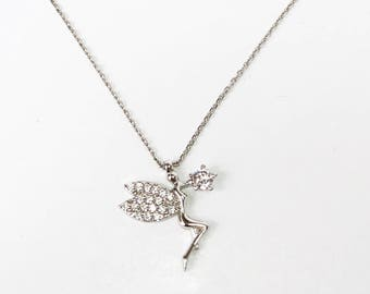 Angel Pendant, Sterling Silver Cubic Zirconia Necklace