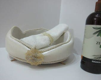 Velvet Wedding Box,Velvet Towel Box,Beige Towel Box,Towel Basket,Velvet Basket,Mother's Day Gift,Wedding Gift, Flowers Vase,Wedding Basket