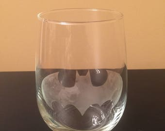 Batman symbol etched wine glass