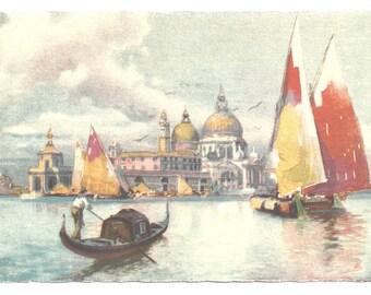 "Artist A. Scrocchi / Venice Italy - ""Church of La Salute""-  Vintage Postcard"
