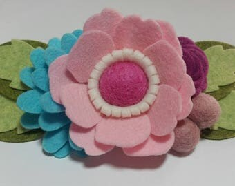 Felt Flower Headband, Baby Headband, Girls Headband, Felt Flower Spring Crown