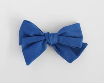 Lake // Dark Blue Handmade Alice Bow