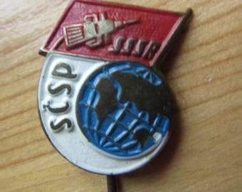 Pin  Badge  Space, Cosmos, Rare Soviet  Russia - Czechoslovakia   Vintage  , Made in USSR 1950ies