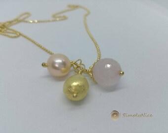 Pink Quartz Necklace Gold