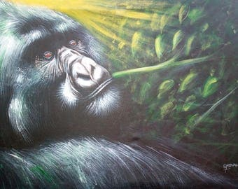 Gorrilla,African art,African painting,Acrylics on canvas painting,Hand painting.