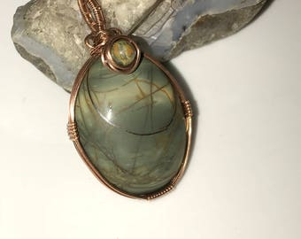 A0008 Picasso Jasper Gemstone in Hand Crafted Cage