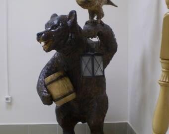 Wooden sculpture brown bear