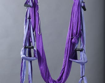 Purple jacob's ladder aerial yoga swing set (hammock with handles)