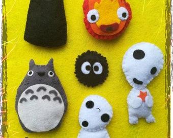 Miyazaki, No Face, Totoro, Calcifer, Sootball magnet keychain ghibli