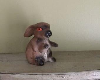 Vintage GOT red eyed porcelain bunny rabbit figurine brown