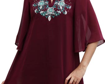 Red  Attractive Maroon Georgette Tunic  Scoop Neck Multi Color Embroidered Top