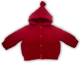 Knitted baby hooded jumper