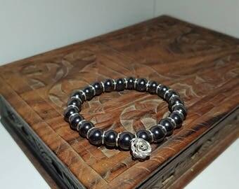 Hematite and silver bracelet
