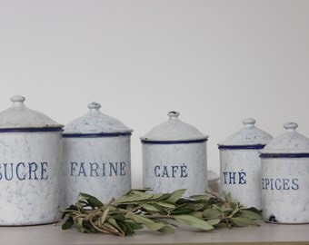 Set of 5 enamel canisters.Set of 5 white enamel canisters.Enamelware.Jars spiced.