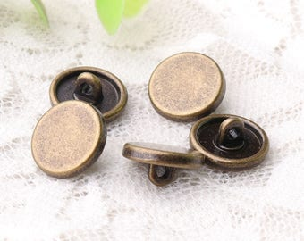 clothing buttons 10pcs 11*5mm button metal zinc alloy bronze buttons shank buttons smooth buttons shirt buttons
