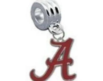 ALABAMA CRIMSON TIDE charm with silver plated connector
