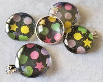 Hearts, Stars and Circles Decorated, Magnet, Necklace Pendant, Cabochon