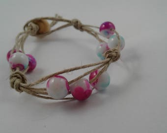 Hemp Strands and Watercolor Beaded Bracelet